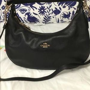 Coach Purse Black pebbled leather